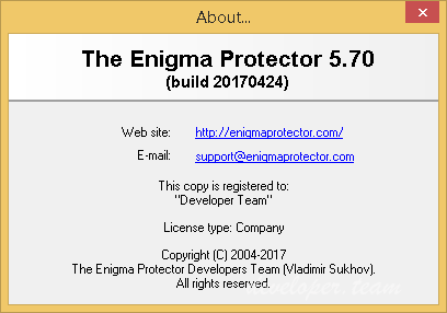 The Enigma Protector 5.70 Build 20170424