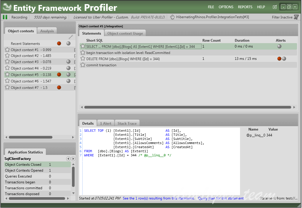 Entity Framework Profiler v5.0 Build 5031
