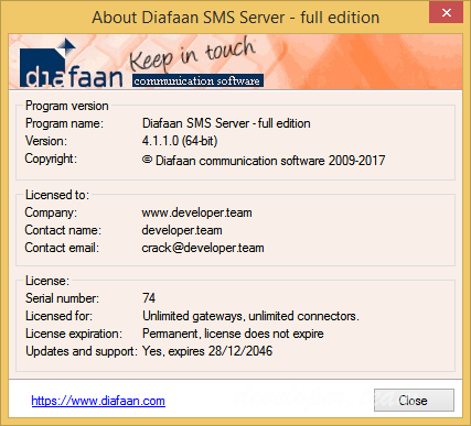 Diafaan SMS Server 4.1.1.0 Full Edition Retail