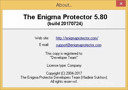 The Enigma Protector 5.80 Build 20170724