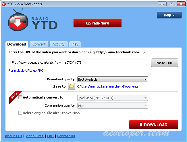 YouTube Video Downloader (YTD) Pro 5.8.8.0.