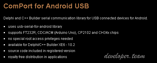 ComPort for Android USB 3.0 Delphi/C++ Builder XE6 - 10.2 Full Source