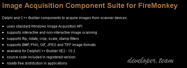 Image Acquisition Component Suite for FireMonkey 1.1 XE2-D10.2 Tokyo