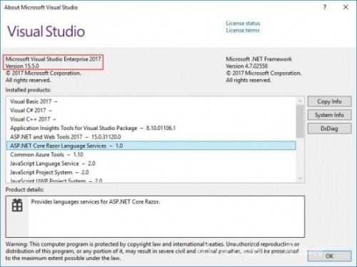 Microsoft Visual Studio 2017 Enterprise / Professional / Test Professional / Community / Team Explorer v15.5.27130.0