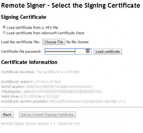 .NET Remote Signature Server 1.2
