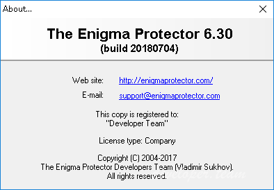 The Enigma Protector 6.30 Build 20180704