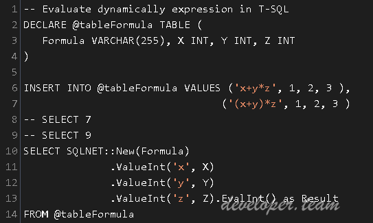 SQL Eval Function - A SQL Eval function to execute C# directly in T-SQL